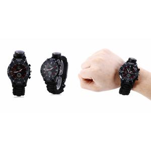 Paracord hodinky s nožom, zapaľovačom a píšťalkou